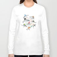 hats Long Sleeve T-shirts featuring Hats On by Matisse Lin