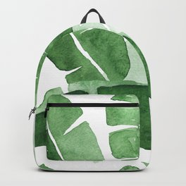 Watercolor Green Banana Leaves Tropical Leaf Pattern Gouache Painting Backpack