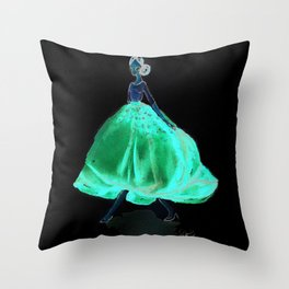 Red Fashion Watercolor Model Throw Pillow