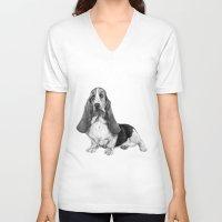 the hound V-neck T-shirts featuring Basset Hound by Danguole Serstinskaja