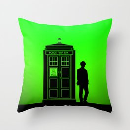 Tardis With The Eleventh Doctor Throw Pillow