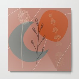 Abstract Floral: Moon & Sun Floral Metal Print