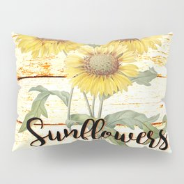 Country Sunflowers on wood Pillow Sham