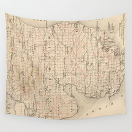 Vintage Map of Michigan (1873) 2 Wall Tapestry