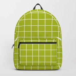 Acid Green - Green Color - White Lines Grid Pattern Backpack