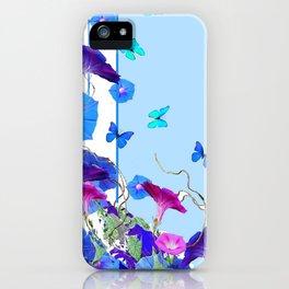 BLUE BUTTERFLIES & PURPLE MORNING GLORIES iPhone Case