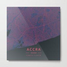 Accra, Ghana - Neon Metal Print