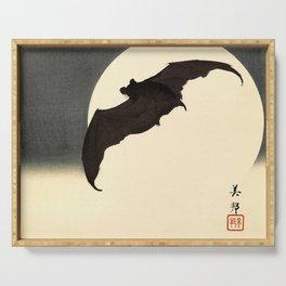 Koson Ohara - Bat and Full Moon - Japanese Vintage Woodblock Painting Serving Tray