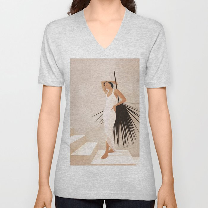 Minimal Woman with a Palm Leaf Unisex V-Neck