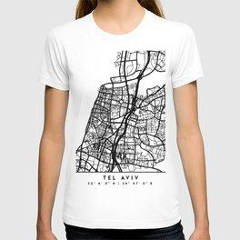 TEL AVIV ISRAEL BLACK CITY STREET MAP ART T-shirt