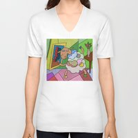 pablo picasso V-neck T-shirts featuring Picasso Sheep by BeeHappy