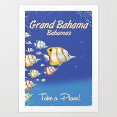 Grand Bahama Retro Plane travel poster Art Print