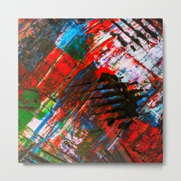 Abstract Tartan Claw Design Painting - Acrylic Paint on Canvas Metal Print