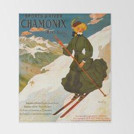 Vintage Chamonix Mont Blanc France Travel Throw Blanket