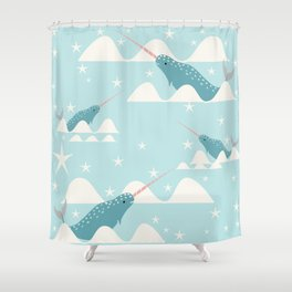 narwhal in ocean Shower Curtain