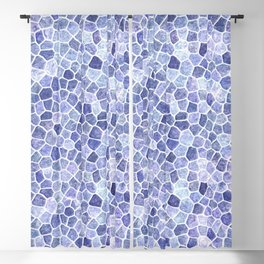 Pale Blue Cobbled Patchwork Irregular Pattern Blackout Curtain