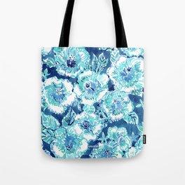 HIBISCUS BOUNTY Blue Tropical Watercolor Tote Bag