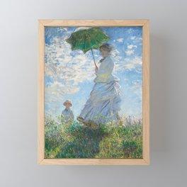 Portrait of Woman with Parasol by Claude Monet Framed Mini Art Print