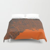 toronto Duvet Covers featuring Toronto Map by Map Map Maps