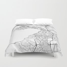 Cape Town Map, South Africa - Black and White Duvet Cover
