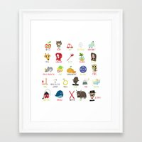 alphabet Framed Art Prints featuring Alphabet by genie espinosa