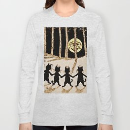 Cats & a Full Moon-Louis Wain Black Cats Long Sleeve T-shirt