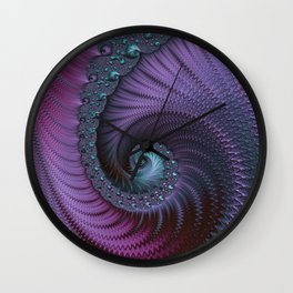 Fantastic Fractal Fantasies Purple And Teal Wall Clock