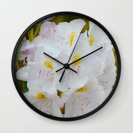 White Rhododendron by Teresa Thompson Wall Clock