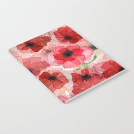 Pressed Poppy Blossom Pattern Notebook