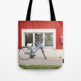 Blue City Bike Tote Bag