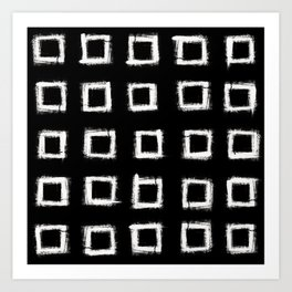 Square Stroke Dots White on Black Art Print