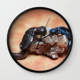 Dragons on Smokey Quartz Wall Clock