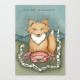 The Crab and The Fox- Aesop's Fables Canvas Print
