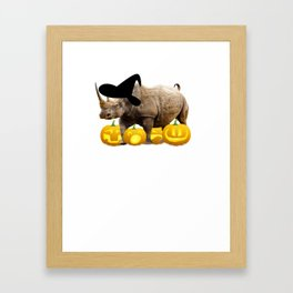 Halloween Rhino Witch Hat Jackolanterns Framed Art Print