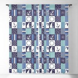 Nautical Blue Patchwork Pattern Blackout Curtain