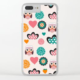 Owls and hearts Clear iPhone Case