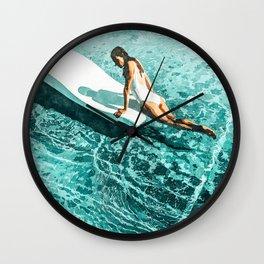 Pool Day #society6 #painting #summer Wall Clock