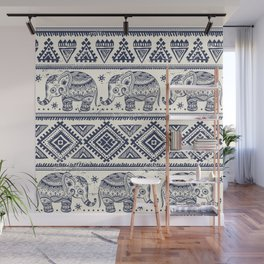 Vintage graphic vector Indian lotus ethnic elephant Wall Mural