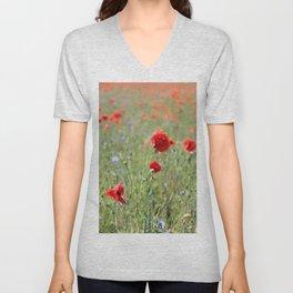 poppy flower no8 Unisex V-Neck