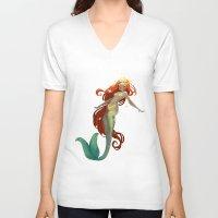 halo V-neck T-shirts featuring Halo Mermaid by Yolanda martinez