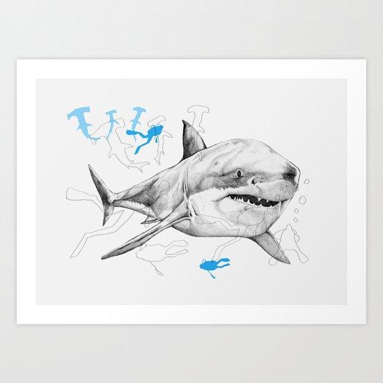 'Sharks & Silhouettes' Art Print