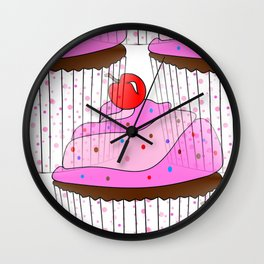 Sprinkle Cupcake Pattern Wall Clock