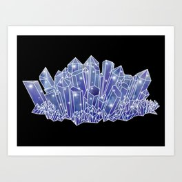 Blue/Purple Crystal Cluster Art Print