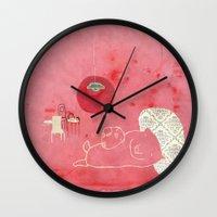 pig Wall Clocks featuring Pig by yael frankel