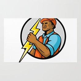 African American Electrician Lightning Bolt Mascot Rug