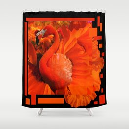 ART DECO BLACK & SAFFRON FLORIDA FLAMINGOS ART Shower Curtain