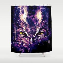 great horned owl bird close up wsfn Shower Curtain