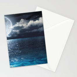 Magnificent Marvelous Bright Full Moon Above Cloudy Sea At Night HD Stationery Cards