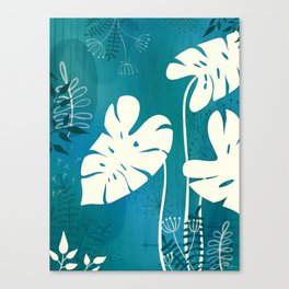 Mixed media monstera artwork in blue Canvas Print