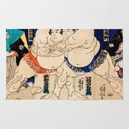 Utagawa Yoshifuji - The Sumo Wrestlers Shiranui Dakuemon Rug
